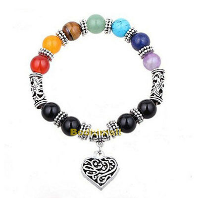 Colorful 7 Chakra Healing Balance Beads Reiki Prayer Yoga Heart Charm Bracelet