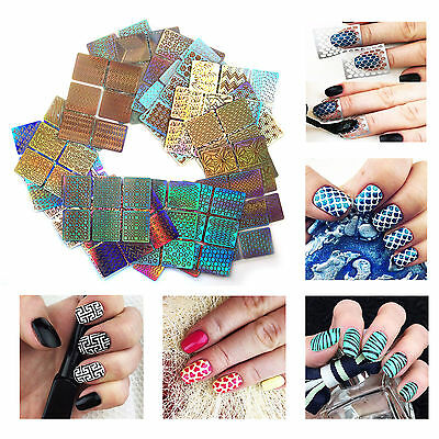 26 Sheets 3D Nail Art Tip Vinyl Hollow Stencil Guide Decal Manicure Stickers DIY