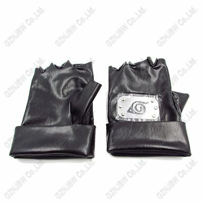 Anime Naruto Kakashi Hatake Ninja Cosplay PU Leather Gloves Leaf Village Props