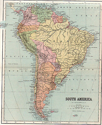 Map Of South America Antique Original Printed 1888