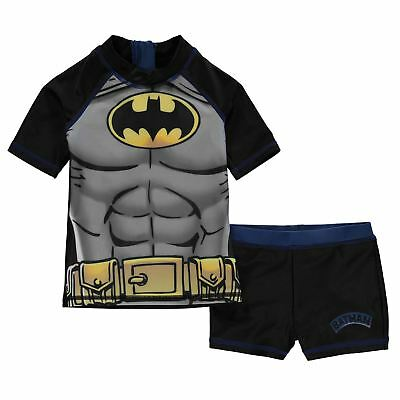 Boys Juniors Kids Batman 2 Piece Swimsuit Swimming Costume Swim Shorts Top Set