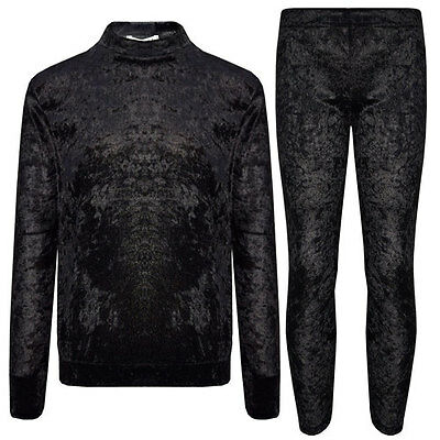 New Girls Boohoo Black Crushed Velour Velvet Tracksuit Top & Leggings Age 7-13