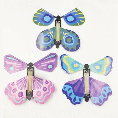Hot 5Pcs Colorful Magic Flying Butterfly Change From Empty Hands Tricks Prop Toy