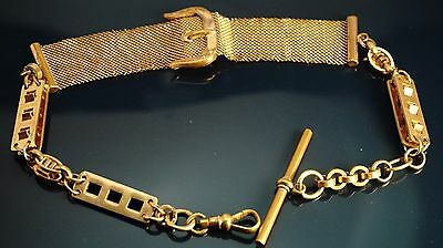 Antique gold filled  Pocket Watch heavy chain fob/T-bar 13.5 inch ,37.5 gram