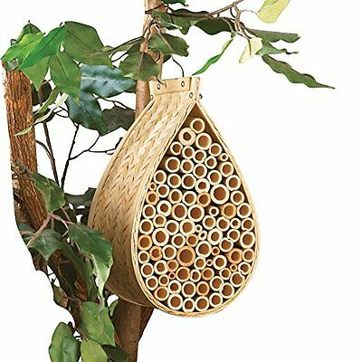 Bamboo Natural Mason Bee Hive House Insect Hotel Garden Decoration, Beige