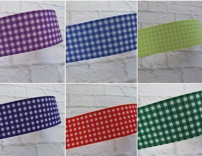Gingham Grosgrain Ribbon School Bows Crafts 25 Mm 6 Colours