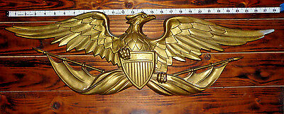 Vintage Aluminum Sexton American Bald Eagle Wall Plaque: 27 inch Wing Span