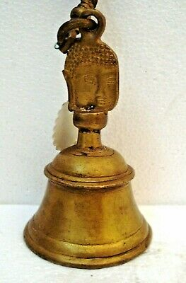 BRASS Bell with HANGING Chain - BUDDHA TYPE -  Religion / Spiritual (1102)
