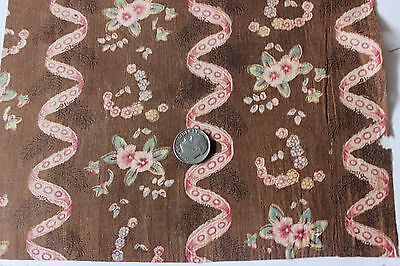 Antique French c1800 Block Printed & Resist On Dark Brown Fabric~Collectors