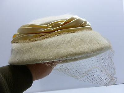 Vintage Union Made Womens Fancy Hat with Veil Off White Cream