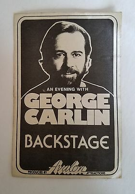 RaRe (1977) GEORGE CARLIN an Evening With '77 Tour All Access Backstage PASS