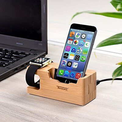 Apple Charging Stand iPhone iWatch Bamboo Wood Charging Dock Station 3 USB Port