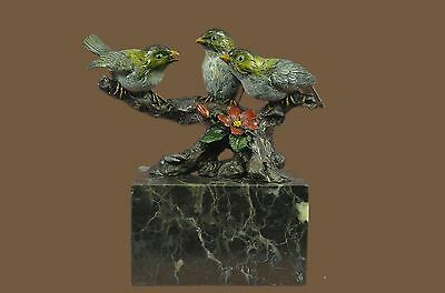 Colorful Finches Birds Signed Collectible Bronze Bookend Sculpture Statue Figure