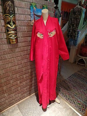 Women's Vintage Ethnic Japanese Red Cotton Metallic Embroidery Dragons Kimono