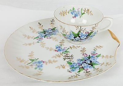 Vintage Blue Forget-me-not - Snack Luncheon Tea Cup and Clam Plate