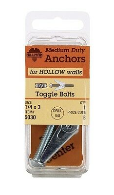 """Hillman Toggle Bolt 1/4 """" X 3 """" 1 / Card Pack of 6"""