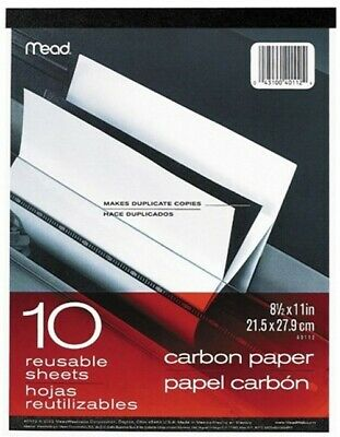"""MeadWestvaco 40112 10 Count 8.5"""" x 11"""" Carbon Paper Tablet"""