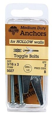 """Hillman Toggle Bolt 3/16 """" X 3 """" 2 / Card Pack of 10"""