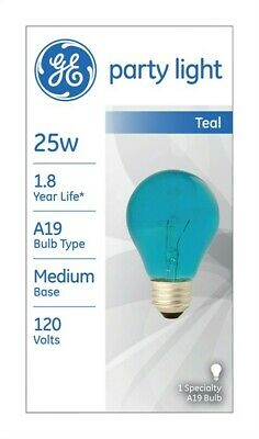 Ge Colored Light Bulb 25 W A19 Med Base 3-7/8 In. Transparent Teal Pack of 6