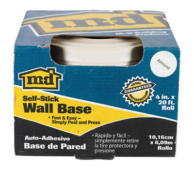 """M-D Vinyl Wall Base 4 """" X 20 ' Adhesive Back Scuff Resistant Almond"""