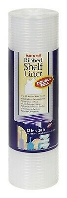 """Warp'S Plast O Mat Shelf Liner Ribbed 12"""" W X 20ft. L Non Adhesive Clear"""