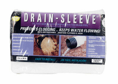 "Drain Sleeve Filter Fabric Sock 4 "" X 10 L ' Perforated"