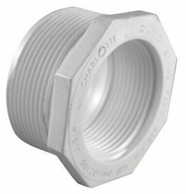 """Charlotte Pipe Reducer Bushing Mpt X Fpt 2 """" X 1-1/2 """" White Schedule 40 Pvc"""
