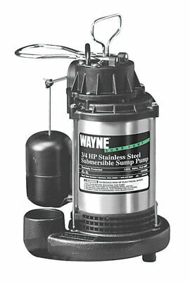 "Wayne Submersible Sump Pump 3/4 Hp 120V 4300 Gph 1-1/2"" Fpt Boxed 5 ' Stainless"