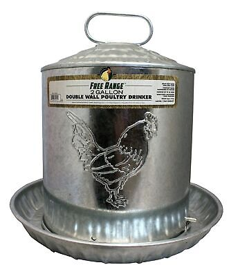 Free Range 4212 2 Gallon Double Metal Wall Chick Water Fountain