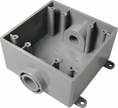 """Cantex Outdoor Switch/Outlet Box Fsc Pvc 2 Gang, 3/4 """" Openings Bulk"""