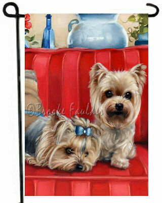 Yorkshire Terrier painting YORKIE GARDEN FLAG Dog ART puppies tiny treasures