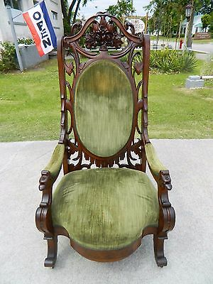 Magnificent Walnut Victorian High Back Highly Carved Parlor Chair circa 1850