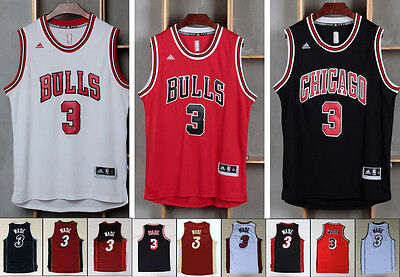 #3 Dwyane Wade Jersey Chicago Bulls Miami Heat NBA S-XXL MESSAGE COLOUR