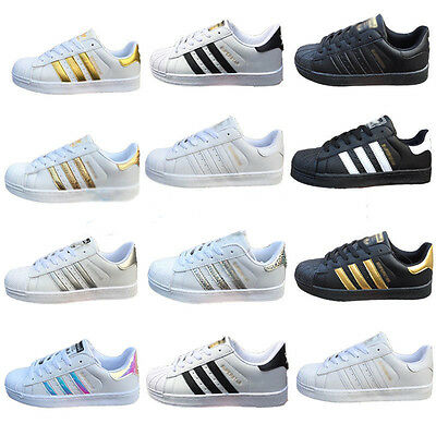 New Women Men's Superstar Striped Lace Up Leather Sport  Sneakers Trainers Shoes
