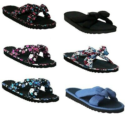 Womens Ladies Slip On Fabric Bow Front Mule Flip Flops Beach Summer Sandals Size