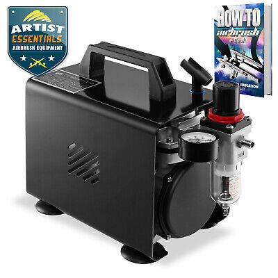 1/5 HP Airbrush Compressor - Quiet Hobby Tankless Oil-less Air Pump with Cover