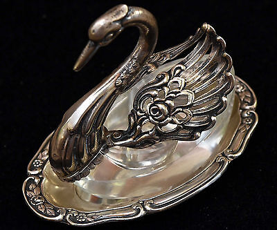 Vintage Albert Bodemer ,800 Silver Signed Swan Salt Pepper Cellar With Tray