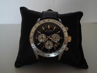 Rotary Men's Stainless Steel Black Leather Strap Chronograph Watch GS03906/04