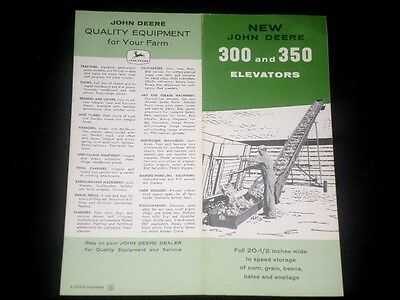 Very Rare Vintage 1960 NEW JOHN DEERE 300 and 350 ELEVATORS Brochure, Pamphlet