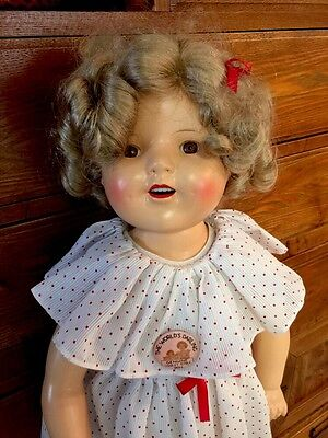 """VINTAGE 25"""" SHIRLEY TEMPLE COMPOSITION Doll In Beautiful Condition!"""