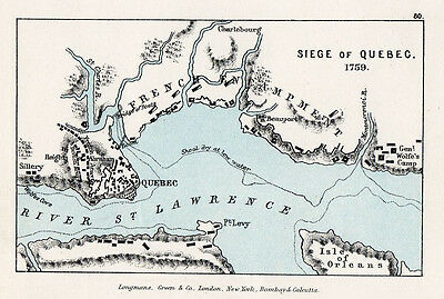 Map of Siege of Quebec  Original Printed 1907