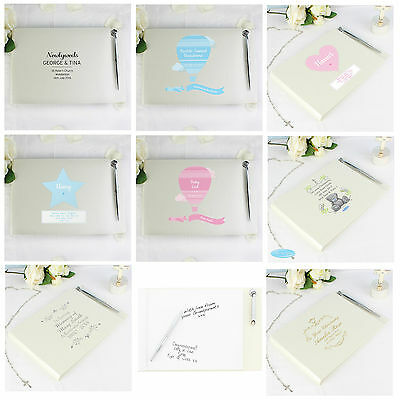 Personalised Guest Book & Pen Set Gifts Ideas For Weddings Christenings New Baby