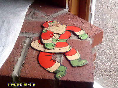 Rare Vintage 6x12 Hanging Cardboard Jointed Moveable Santa Decoration (*)