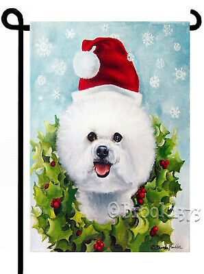 BICHON FRISE painting GARDEN FLAG Dog Art Christmas Catching Snowflake NEW