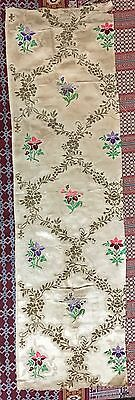 "ANTIQUE FRENCH 18TH-CENTURY FABRIC SILK JACQUARD 11"" X 37"" Silver Work"