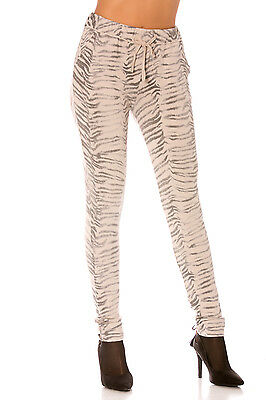 Pantalon joggings beige motif fashion.