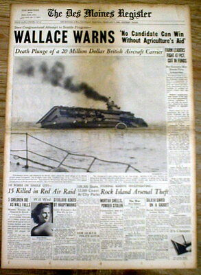 BEST 1940 WW II newspaper wPic GERMANY SINKS BRITISH Aircraft Carrier COURAGEOUS