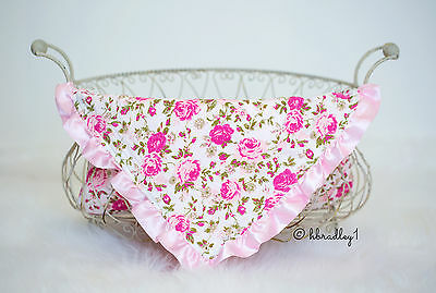 NEW Baby Newborn Minky Receiving Blanket Girls 32x32 Inches Pink Floral Flowers