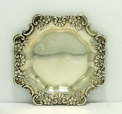Frank M Whiting Sterling Silver Floral Coaster Ashtray Small Dish 3.25""