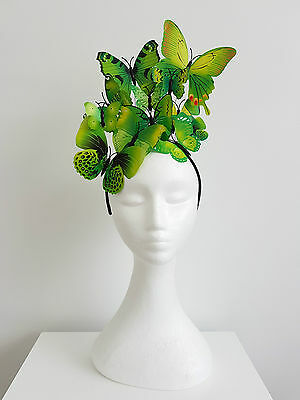 Miss butterfly womens fascinator Ivory,yellow,pinks,purple,red,green,blue tones